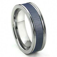 Tungsten Carbide Blue Ceramic Inlay Wedding Band Ring w/ Horizontal Satin Finish Platinum Wedding Rings, White Gold Wedding Rings, Wedding Ring Bands, Silver Rings, Tungsten Wedding Rings, Titanium Rings, Ring Set, Ring Verlobung, Stainless Steel Rings