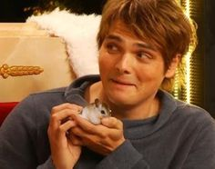 "This, my friends, is Gerard Way, leader of the ""most dangerous band in history"", fangirling over a small rodent."