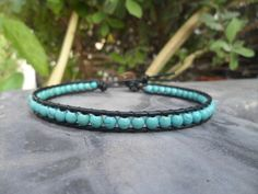 Sort  tablets  Turquoise  Leather Anklet by bymemade on Etsy, $10.00