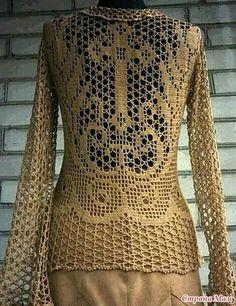 Crochet filet tunic cross pattern