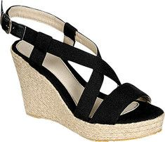 These women's peep toe wedge sandals feature a canvas fabric upper and an adjustable slingback. Beston Echo-02
