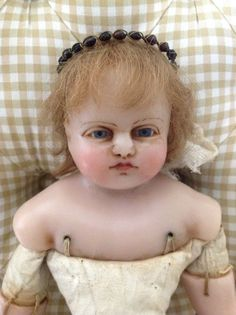 Antique Fine likely Pierotti 20 19thC English poured wax doll