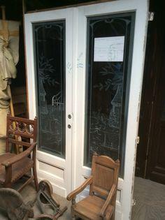 Tweeslag deur met geëtst glas.... Te koop bij Medussa Heist op den berg