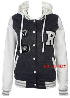 MyMixTrendz- Women Baseball Varsity Hooded Bomber Jacket With Pockets & Snap Fasteners Closure Plus Size Top Jacket: Amazon.co.uk: Clothing
