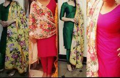 Floral print dupatta  Hot pink and emerald green raw silk salwaar kameez