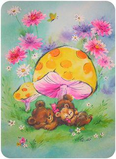 Vintage card sleeping bears
