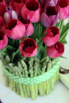 Tulip & Asparagus centerpiece for Easter Brunch
