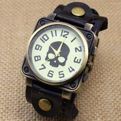Vintage Black Leather Band Bracelet Quartz Wrist Skull Casual Watch Men Boy Retro B2221