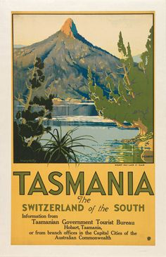 Tasmania Switzerland of the South Australia Vintage Travel Advertisement Poster A4 Poster, Poster Prints, Poster Wall, Tasmania Travel, Posters Australia, Australian Vintage, Australian Art, Surf, Illustrations