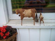 Folk Art Mother and Baby Cow Dolls Shelf by CaneRiverCrafts