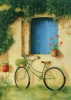 """rainlullaby99: """" La Bicyclette by Fabrice De Villeneuve """""""