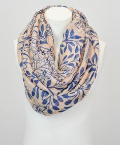 Loving this Peach & Blue Floral Infinity Scarf on #zulily! #zulilyfinds