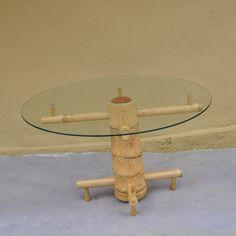 Furniture Glass Top Bamboo Coffee Table
