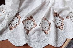 cotton lace fabric, embroidered lace cloth, cotton lace fabric with double border, hollowed out floral pattern