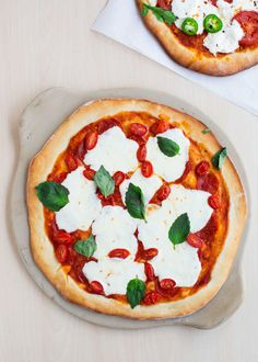 Margherita pizza using my favorite homemade pizza dough!