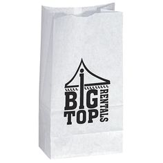 Custom Printed Popcorn Bag in White Promotional Giveaways, Promotional Events, Custom Gift Bags, Customized Gifts, Popcorn Bags, Advertising Slogans, Quality Logo Products, Printed Bags, White Paper
