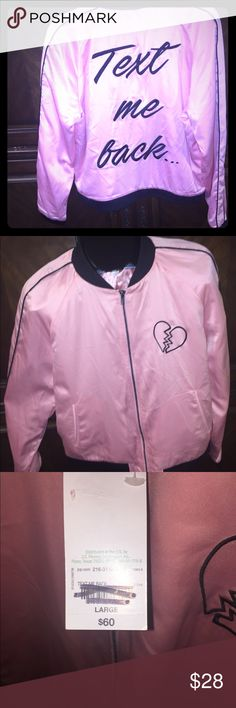 Girls Large Lightweight jacket Cute pink jacket with Black monogram. NWT Pictures accurate in description of jacket. Jackets & Coats