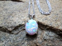 White Opal Necklace Large Opal Necklace Fine by CaravanOfBeads, $125.00