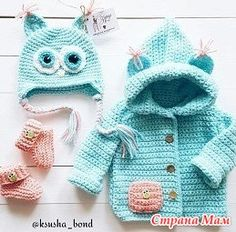 Lovely crochet set: hat, jacket and boots for girl. Crochet Baby Jacket, Crochet Baby Sweaters, Crochet Coat, Crochet Baby Clothes, Crochet Bunny, Crochet Yarn, Knitted Hats, Crochet For Boys, Knitting For Kids