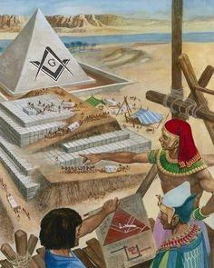 Building the pyramids by Peter Jackson as fine art print. Stretched on canvas or printed as photo. We produce your artwork exactly like you wish. With or without painting frame. Ancient Egypt History, Ancient Aliens, Ancient Art, Masonic Art, Masonic Symbols, Egypt Museum, Templer, Freemasonry, Knights Templar