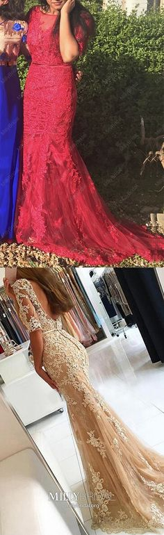Red Prom Dresses Long, Mermaid Formal Evening Dresses Open Back, Lace Military Ball Dresses With Sleeves, Elegant Pageant Graduation Party Dresses Tulle Vintage Formal Dresses, Formal Dresses For Teens, Formal Evening Dresses, Trendy Dresses, Dress Formal, Tulle Prom Dress, Mermaid Prom Dresses, Pageant Dresses, Party Dresses