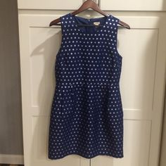 Jcrew blue dress with silver metallic polka dots Jcrew blue dress with silver metallic polka dots. Worn twice. Is a roomy size 8 in my opinion. Really cute. Would keep if It still fit. J. Crew Dresses Midi