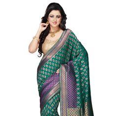 Teal Blue Banarasi Silk Handloom Saree with Blouse