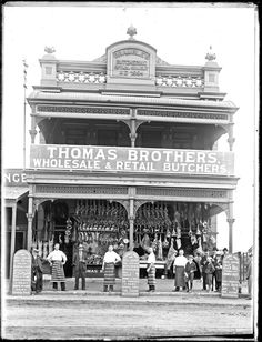 Thomas Brothers Butcher Shop, 203 to 205 Hunter Street West, Newcastle, NSW, 9 November 1904 Hunter Street, Small Town America, Newcastle Nsw, Butcher Shop, Shop Fronts, Old Photos, Vintage Photos, Old Buildings, Old West