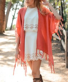 Loving this Watermelon Gauze Tassel Kimono on #zulily! #zulilyfinds