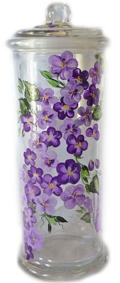 Painted Purple Violet Flowers Glass Air Tight Canister