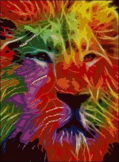 Abstract Lion - Counted Needle Point and Cross Stitch Chart Pattern