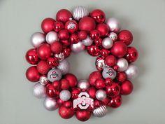 OHIO STATE BUCKEYES Ornament Wreath by dottiegray on Etsy, $60.00