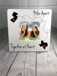 Personalized Picture Frame, Miles Apart, Together at Heart, Best friends Frame, Family Apart Frame, Long Distance Frame by GIFTABLEINC on Etsy https://www.etsy.com/listing/523436626/personalized-picture-frame-miles-apart