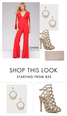 """""""Cocktail Jumpsuit"""" by ashgoins ❤ liked on Polyvore featuring Bebe"""