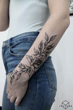 Tattoo Ed - tattoo's photo In the style Graphics, Female, Flowe Rose Vine Tattoos, Rose Tattoos On Wrist, Forarm Tattoos, Wrist Tattoos For Women, Flower Tattoo Arm, Body Art Tattoos, Hand Tattoos, Sleeve Tattoos, Wrap Around Tattoo