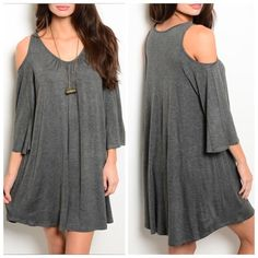 """CHARCOAL GREY KNIT JERSEY DRESS Flowy jersey knit dress features exposed shoulders, long sleeves and scooped neckline. 65% rayon 35% viscose. Small measures L35"""" B19"""" W20"""" S - 1 M - 2 L - 0 Please comment size needed below.  PLEASE DO NOT BUY THIS LISTING. Allow me to make your separate listing for you or help you make a bundle ❤️.  NO PAYPAL NO TRADES. Price is firm unless bundled. Dresses"""