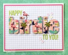 Happy Birdie(s) Bright Pink, Pink And Green, Blog Names, Pink Bird, Bird Cards, Graph Paper, Altenew, Paper Background, Long Legs