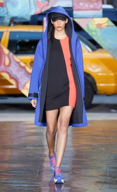 """The Spring / Summer 2014 DKNY is very sporty, with strong colors. We love the """"oversized"""" feminine silhouettes yet feminine alternating rigidity and fluidity."""