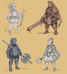 Such lovely character designs! I want to draw like this Character Creation, Game Character, Character Concept, Fantasy Characters, Anime Characters, Game Concept Art, Fantasy Armor, Character Design References, Illustrations And Posters