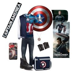 """""""Captain America"""" by xalecx ❤ liked on Polyvore featuring True Religion, White Mountaineering, rag & bone, Marvel Comics and John Varvatos"""