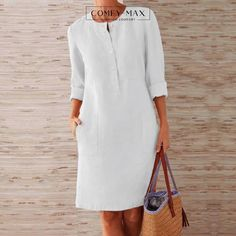 Plus Size Party Dresses, Party Dresses For Women, Shift Dresses, Linen Dresses, Casual Dresses, Dresses Dresses, Cute Casual Outfits, Cheap Dresses, Work Outfits