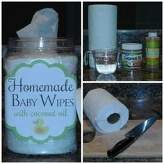 How to make homemade baby wipes with coconut oil! It is super simple, only 3 ingredients!