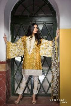 Khaadi Lawn Collection 2017-18 Embroidered Shirt With Chiffon Dupatta | PK Vogue