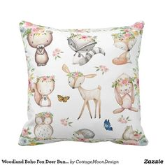 Woodland Boho Fox Deer Bunny Nursery Pillow