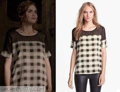 Lydia Martin (Holland Roden) wears this brown and white plaid mesh top in this weeks episode of Teen Wolf. It is the Like Mynded Chiffon Yoke Plaid Top.