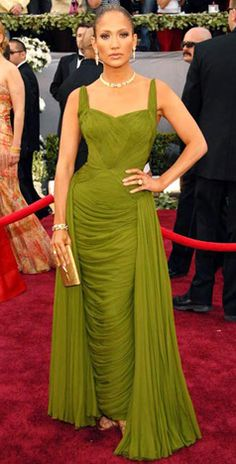 Jennifer Lopez donned a moss green Jean Desses vintage chiffon gown made with 50 yards of chiffon for the 78th Oscars in Hollywood.