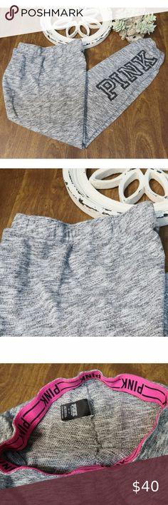 Victoria/'s Secret PINK Boyfriend Fleece Sweat Pants Logo Open Leg Track NWT