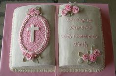 Confirmation Cakes for Girls | made this Bible cake for my friend's daughter for her 1st Communion ...