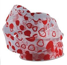 Flock Heart Organza Ribbon, 1-1/2-inch, 25-yard, White with Red Hearts