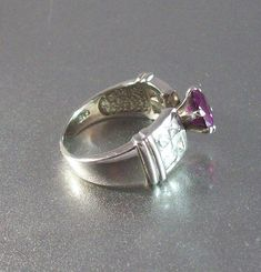 Sterling Ruby Ring CZ Cocktail Wedding by LynnHislopJewels on Etsy